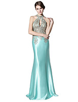 cheap -Mermaid / Trumpet Halter Floor Length Satin Prom Formal Evening Dress with Lace Sequins by Sarahbridal