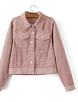 cheap -Women's Going out Simple Fall Denim Jacket,Solid Shirt Collar Long Sleeve Regular Polyester Oversized