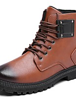 Men's Shoes Cowhide Winter Combat Boots Boots Mid-Calf Boots for Casual Brown Gray Black