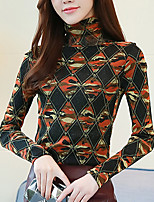 cheap -Women's Daily Going out Casual Winter Fall T-shirt,Print Turtleneck Long Sleeve Cotton Polyester Thick