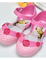 cheap -Girls' Shoes PVC Leather Spring Summer Comfort Sandals Walking Shoes Buckle for Casual White Orange Pink