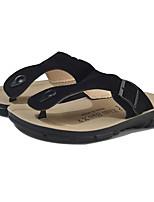Men's Shoes Nubuck leather Spring Summer Comfort Slippers & Flip-Flops for Casual Camel Black