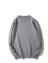 cheap -Men's Daily Wear Going out Short Pullover,Solid Round Neck Long Sleeves Cotton Spring/Fall Winter Thin strenchy