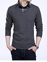cheap -Men's Daily Regular Pullover,Color Block Shirt Collar Long Sleeve Polyester Winter Fall Thick strenchy