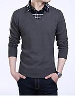 Недорогие -Для мужчин Повседневные Обычный Пуловер Контрастных цветов,Рубашечный воротник Длинные рукава Полиэстер Зима Осень Толстая strenchy