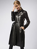 cheap -Women's Daily Street chic Fall Leather Jacket,Solid Shirt Collar Long Sleeve Long Lambskin