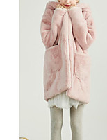 Недорогие -Для женщин На каждый день Зима Осень Пальто с мехом Капюшон,Простой Однотонный Длинная Длинные рукава,Хлопок,Крупногабаритные