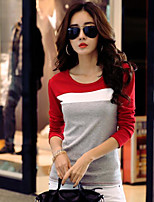 Women's Daily Vintage Winter Spring T-shirt,Color Block Round Neck Long Sleeve Cotton Medium