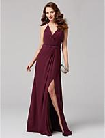 preiswerte -A-Linie V-Ausschnitt Boden-Länge Chiffon Formeller Abend Kleid mit Schärpe / Band Überkreuzte Rüschen durch TS Couture®