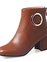 baratos -Feminino Sapatos Courino Inverno Outono Botas da Moda Curta/Ankle Botas Salto Robusto Ponta quadrada Botas Curtas / Ankle Botas Cano Médio