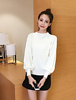 Women's Casual/Daily Simple Fall Sweater Skirt Suits,Solid Crew Neck Long Sleeve Acrylic