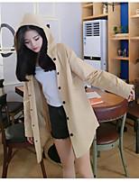 economico -Impermeabile Da donna Quotidiano Casual Autunno,Tinta unita Con cappuccio Cotone Standard Maniche lunghe