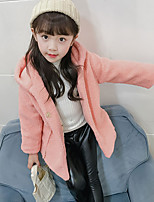 cheap -Girls' Solid Jacket & Coat,Others Long Sleeves Blushing Pink Red