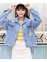 cheap -Women's Daily Vintage All Season Denim Jacket,Solid Round Neck Short Sleeve Regular Cotton Acrylic Others Pleated