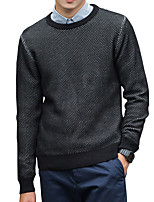 cheap -Men's Daily Work Casual Active Street chic Regular Pullover,Solid Round Neck Long Sleeves Polyester Spandex Japanese Cotton Winter Fall