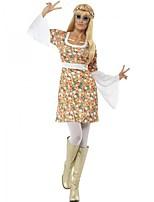 Hippie Costume Femme Costume de Soirée Bal Masqué Imprimé Vintage Cosplay Manches Longues Cloche Mi-long