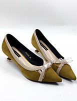 abordables -Mujer Zapatos Aterciopelado Primavera Otoño Confort Tacones Tacón Kitten Dedo Puntiagudo Pajarita para Casual Negro Verde