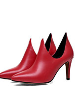Women's Shoes PU Spring Summer Comfort Heels Stiletto Heel Pointed Toe Closed Toe for Casual Red Black
