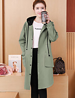 cheap -Women's Daily Vintage Fall Trench Coat,Solid Hooded Long Sleeve Long Cotton Beaded