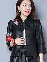 cheap -Women's Daily Vintage Winter Leather Jacket,Solid Round Neck Short Sleeve Regular Cotton Acrylic Sequins