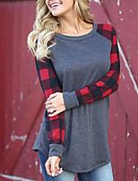 abordables -Mujer Casual Chic de Calle Festivos Noche Primavera Otoño Camiseta,Escote Redondo Un Color Bloques Mangas largas Algodón Poliéster Fino