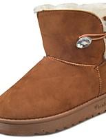 Недорогие -Для женщин Обувь Искусственное волокно Зима Армейские ботинки Ботинки На плоской подошве Круглый носок Сапоги до середины икры для