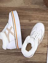 preiswerte -Damen Schuhe Leder Winter Herbst Komfort Sneakers Flacher Absatz Runde Zehe für Normal Weiß