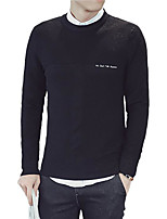 cheap -Men's Casual/Daily Simple Long Pullover,Solid Round Neck Long Sleeves Polyester Winter Fall Thick Micro-elastic