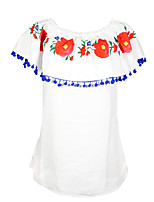 cheap -Women's Going out Casual/Daily Vintage Cute Sexy Spring Summer T-shirtFloral Color Block Boat Neck Short Sleeve Polyester Medium