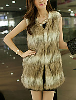 cheap -Women's Party/Cocktail Going out Vintage Active Winter Fall Vest,Solid Round Neck Sleeveless Regular Faux Fur