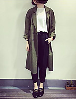 cheap -Women's Going out Simple Winter Trench Coat,Solid Round Neck Long Sleeve Long Cotton