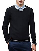 Недорогие -Для мужчин Повседневные Офис На каждый день Активный Уличный стиль Обычный Пуловер Однотонный,V-образный вырез Длинный рукав Полиэстер