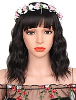 cheap -Women Synthetic Wig Short Water Wave Black Natural Hairline With Bangs Natural Wigs Costume Wig