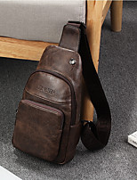 cheap -Men Bags PU Shoulder Bag Zipper for Event/Party Casual Winter Fall Brown Coffee Black