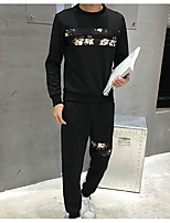 cheap -Men's Casual/Daily Sweatshirt Solid Round Neck Micro-elastic Eco-friendly Polyester Elastane Long Sleeves Fall