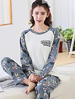 Costumes Pyjamas Femme,Imprimé Imprimé Coton Blanc