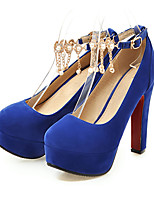 cheap -Women's Shoes Nubuck leather Spring Fall Comfort Novelty Heels High Heel Round Toe Beading Rivet Buckle for Wedding Party & Evening Blue
