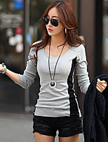 preiswerte -Damen Einfarbig Retro Alltag T-shirt,Rundhalsausschnitt Winter Frühling Langärmelige Baumwolle Mittel