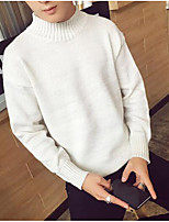cheap -Men's Casual/Daily Simple Short Pullover,Solid Round Neck Long Sleeve Polyester Winter Fall Thick strenchy