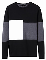 cheap -Men's Casual/Daily Simple Regular Pullover,Solid V Neck Long Sleeves Cotton Polyester Winter Autumn/Fall Opaque Thin Micro-elastic