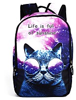 cheap -Kids Bags Polyester Backpack Pattern / Print Zipper for Casual Outdoor All Season Purple White