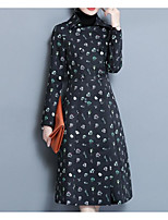 cheap -Women's Going out Street chic Winter Fall Trench Coat,Print Peter Pan Collar Long Sleeve Long Polyester Pleated