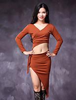 abordables -Danza del Vientre Vestidos Mujer Actuación Algodón Poliéster Ceñido Mangas largas Cintura Baja Vestidos