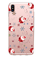 baratos -Capinha Para Apple iPhone X / iPhone 8 Transparente / Estampada Capa traseira Natal Macia TPU para iPhone XS / iPhone XR / iPhone XS Max