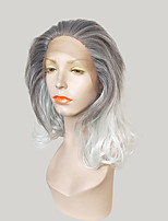cheap -Synthetic Lace Front Wig Natural Wave Layered Haircut Synthetic Hair Ombre Hair / Dark Roots Gray Wig Women's Medium Length Lace Front Wig