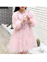 Girl's Casual/Daily Solid Dress,Polyester Winter Fall Long Sleeves Simple Blushing Pink Light Blue