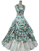 Gothique Victorien Femme Une Pièce Robes Jupe Tenue Cosplay Bleu Fleur Mancheron Sans Manches Longueur Cheville