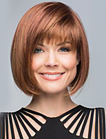 cheap -Women Human Hair Capless Wigs Beige Blonde//Bleach Blonde Medium Auburn Natural Black Medium Length Kinky Straight Bob Haircut With Bangs