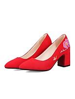preiswerte -Damen Schuhe maßgeschneiderte Werkstoffe Frühling Sommer Komfort Leuchtende Sohlen High Heels Blockabsatz Spitze Zehe Geschlossene Spitze