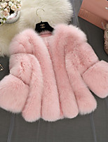 cheap -Women's Going out Casual Winter Fall Fur Coat,Solid Notch Lapel Long Sleeve Regular Faux Fur